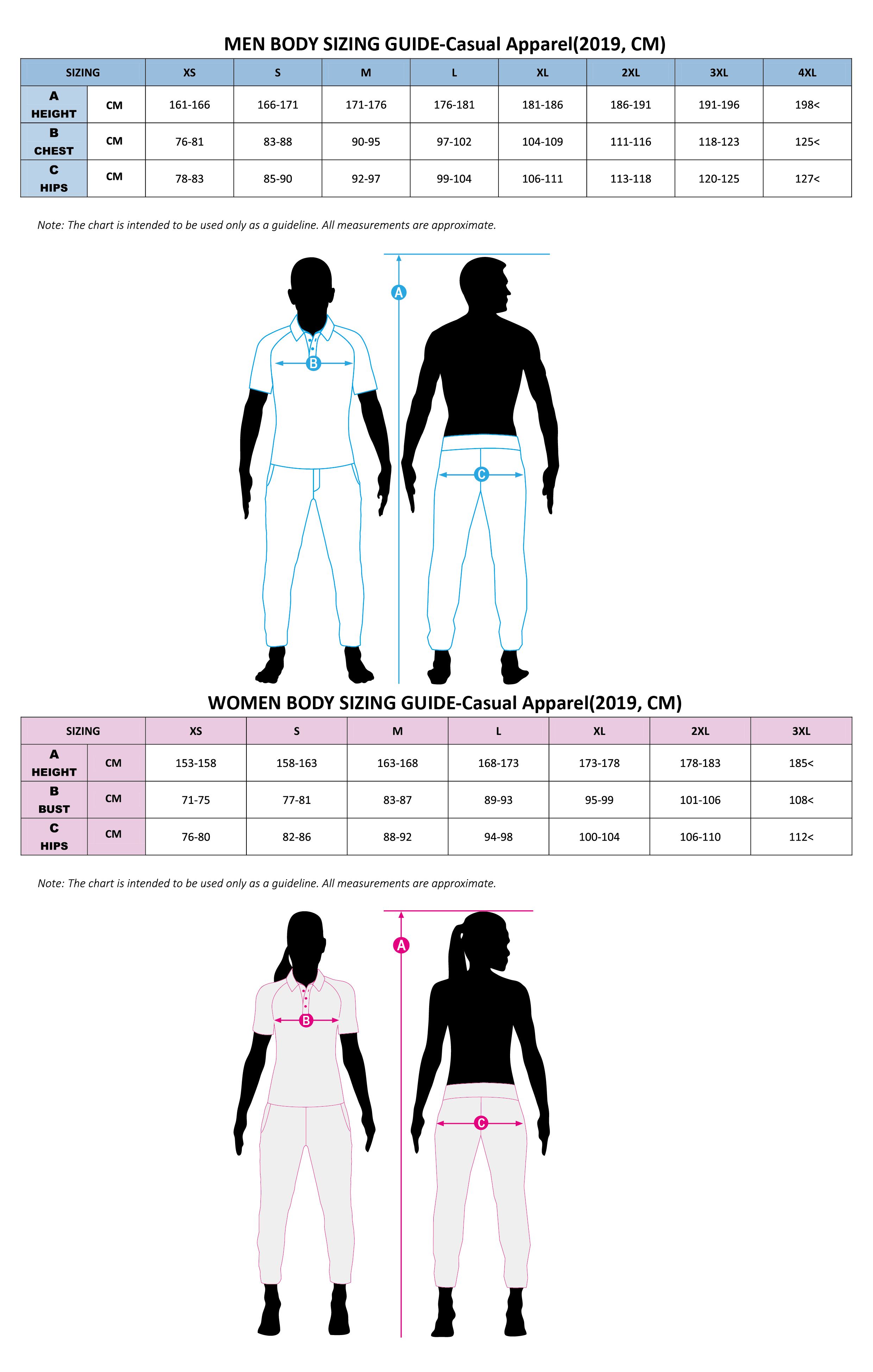 Body Sizing-Casual Apparel