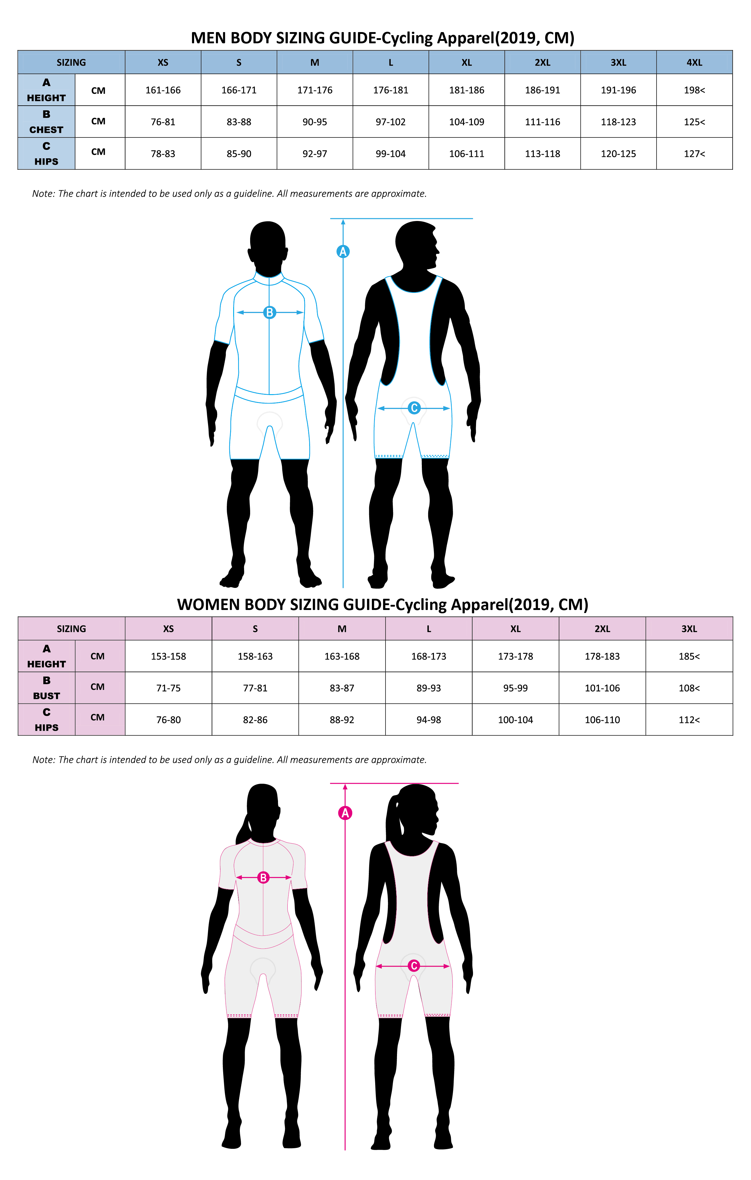 Body Sizing-Cycling Apparel