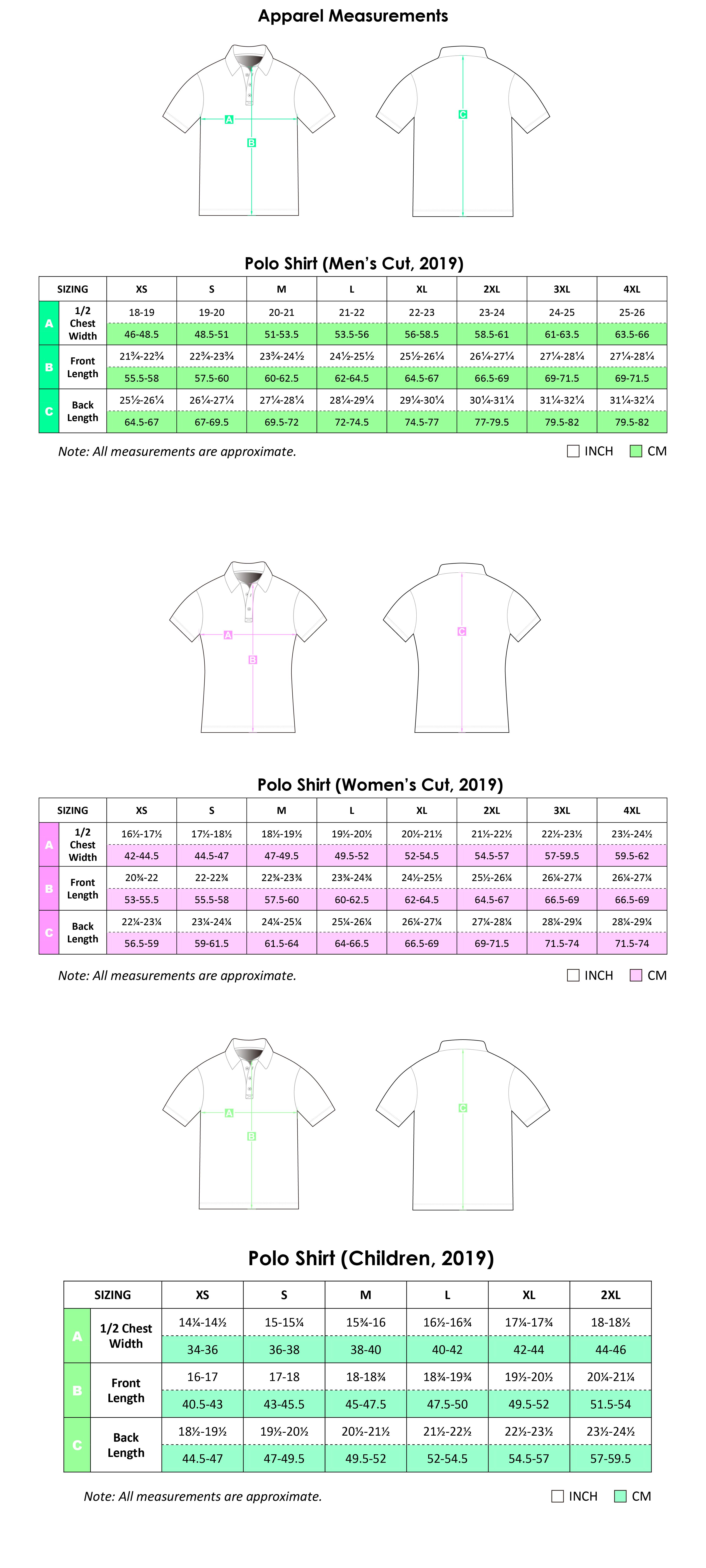 i4 coaching Polo Shirt Size Guide