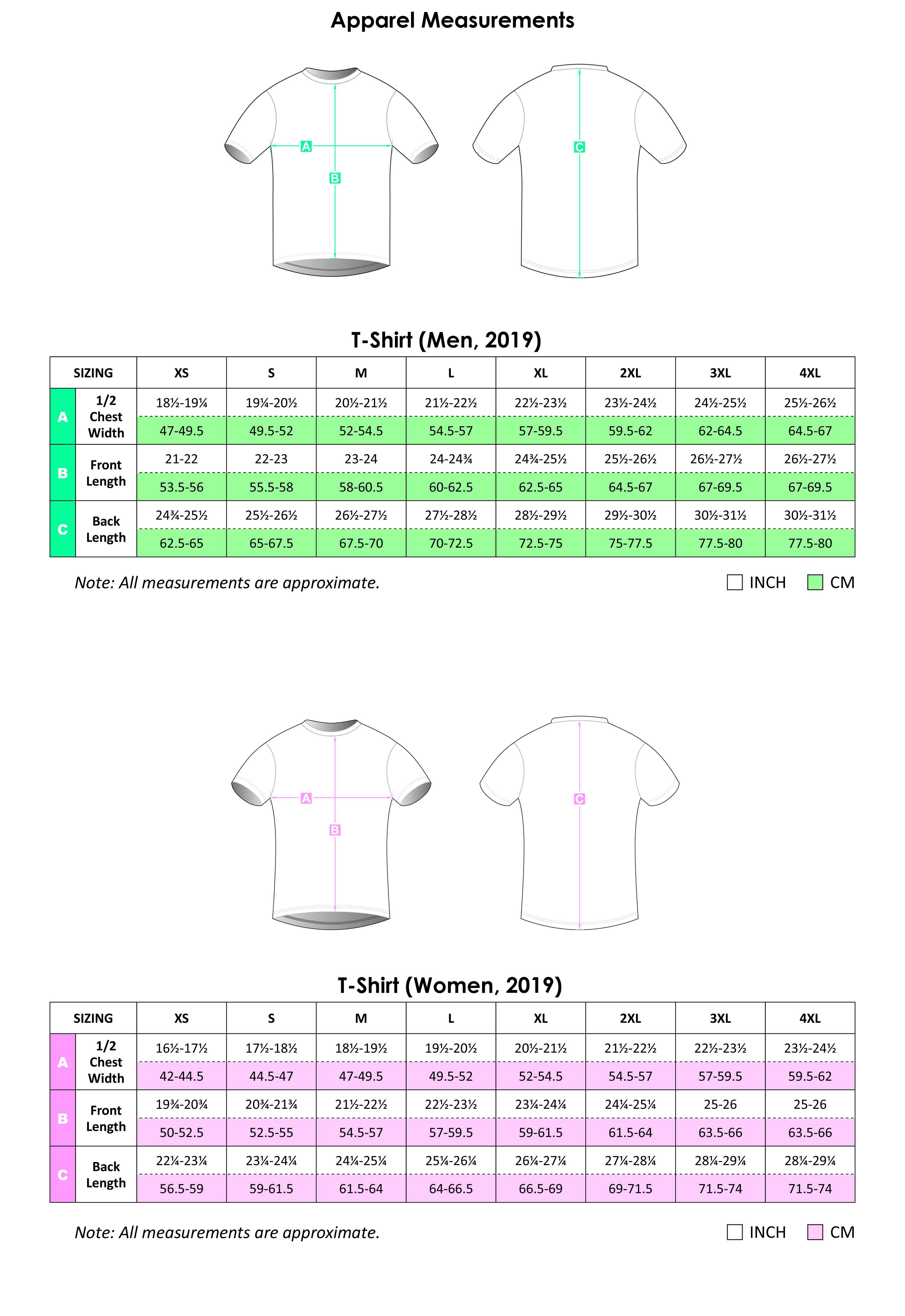 T Shirt Apparel Size Chart