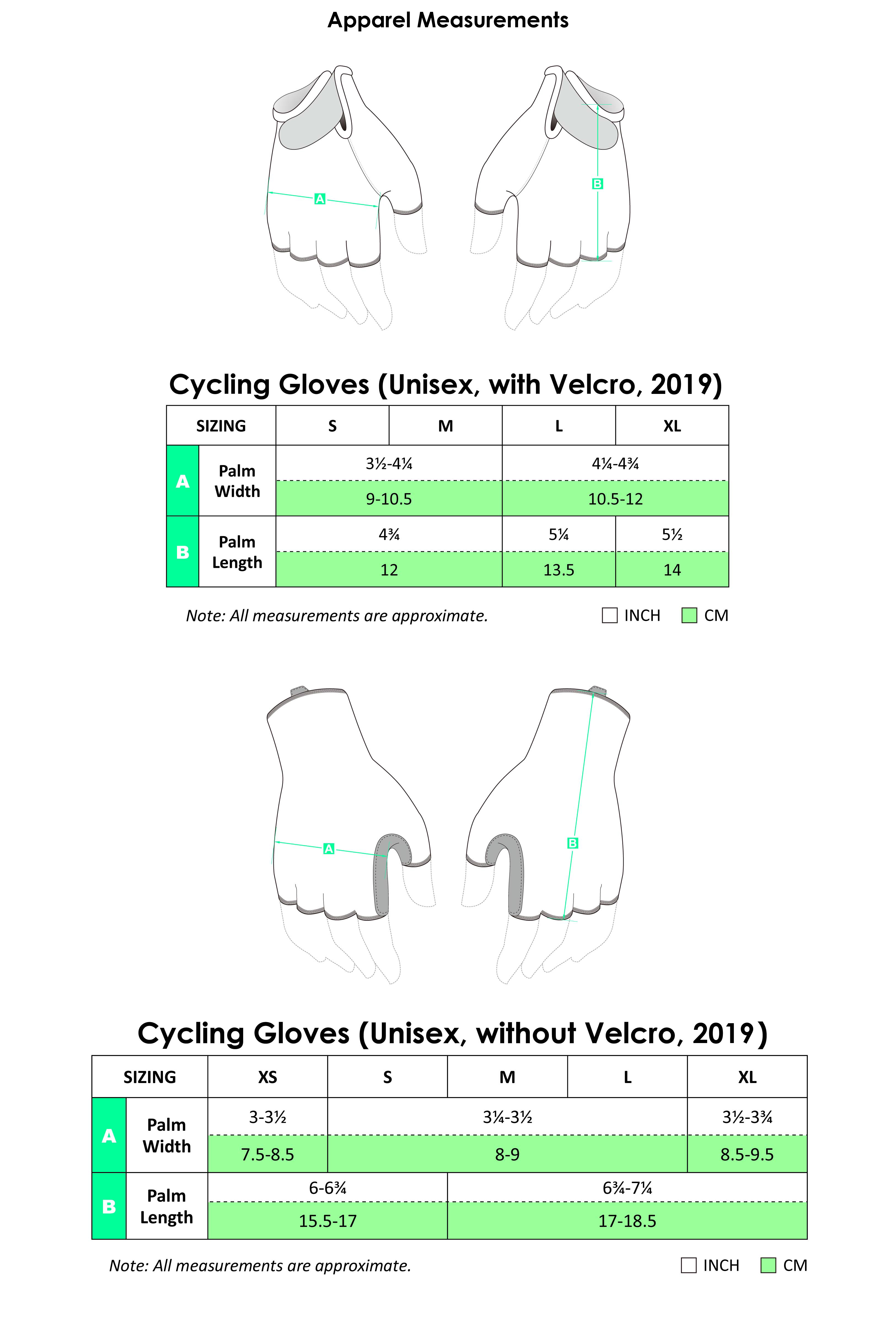 Cycling Gloves Apparel Size Chart