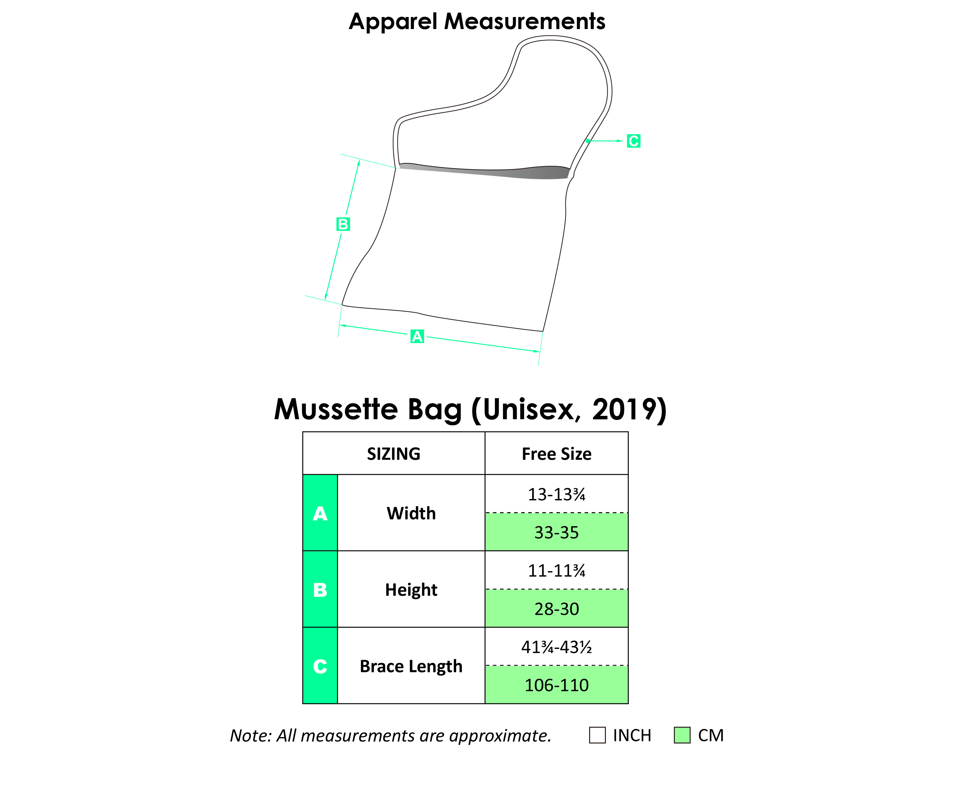 Mussette Bag Apparel Size Chart