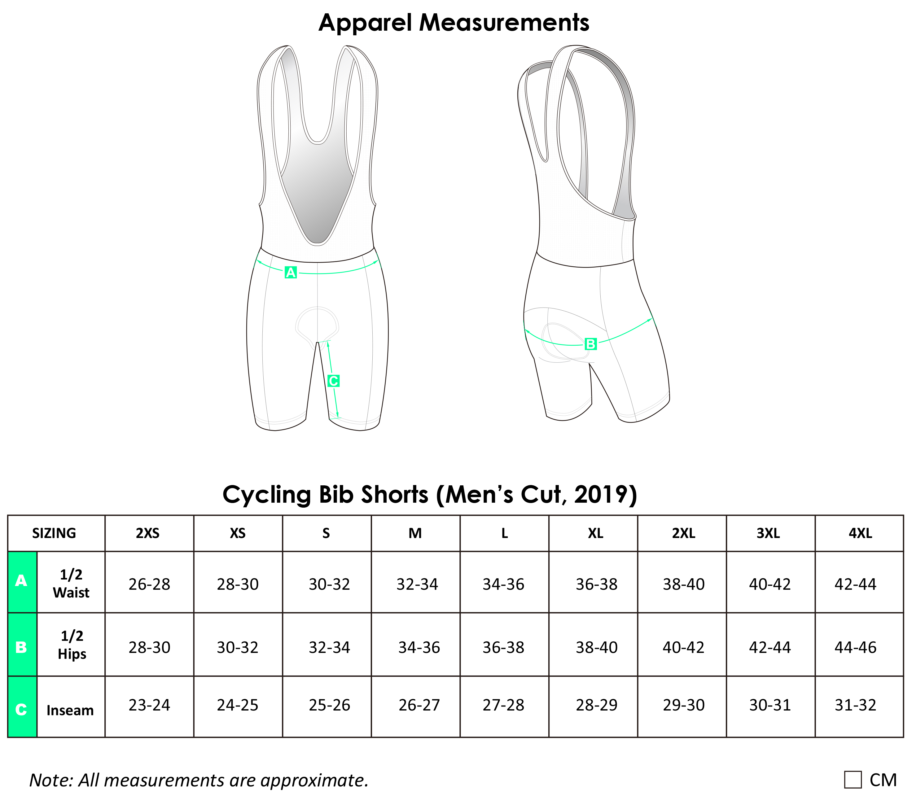 Adelaide Coffee Culrure Cycling Bib Shorts Size Guide