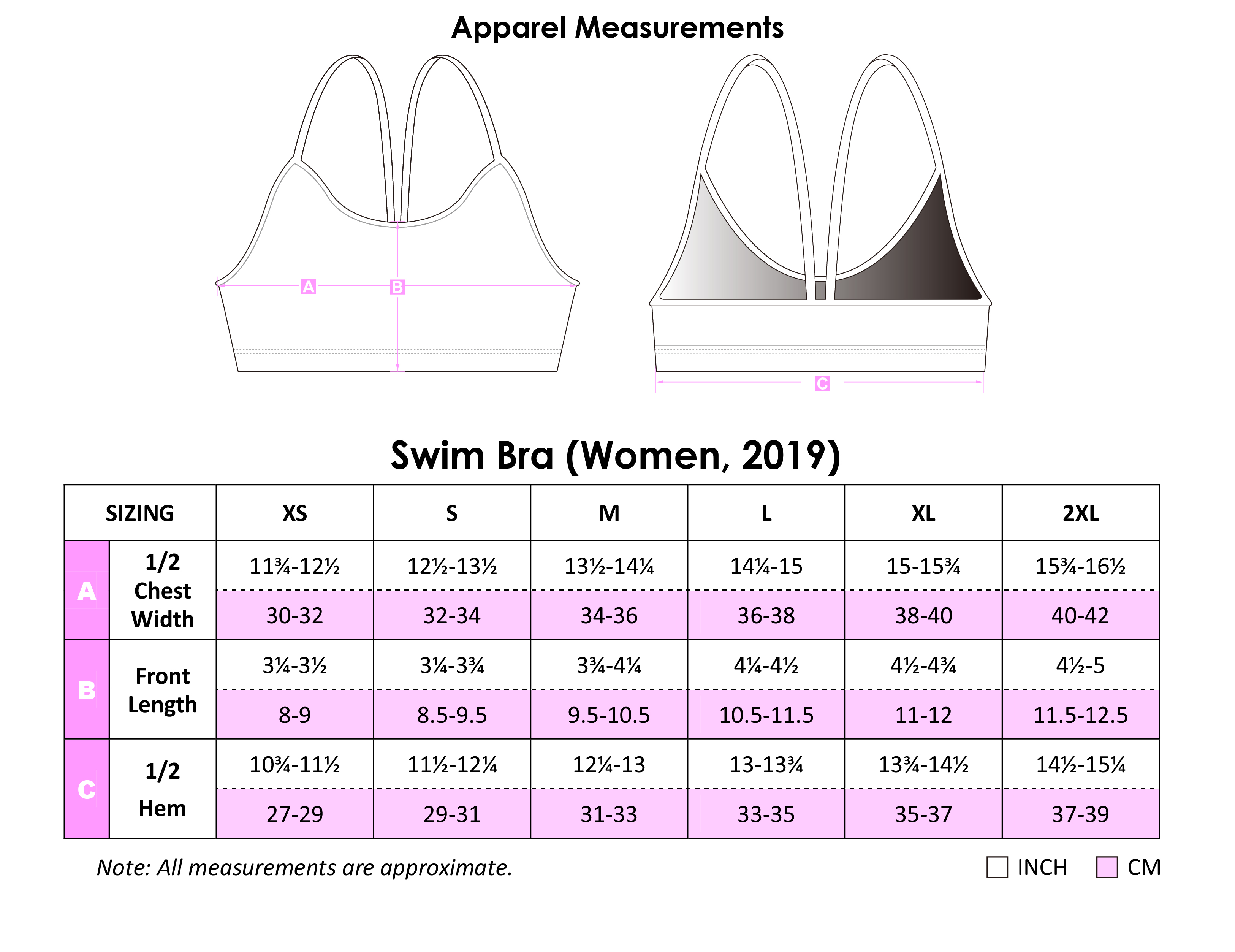 Swim Bra Apparel Size Chart