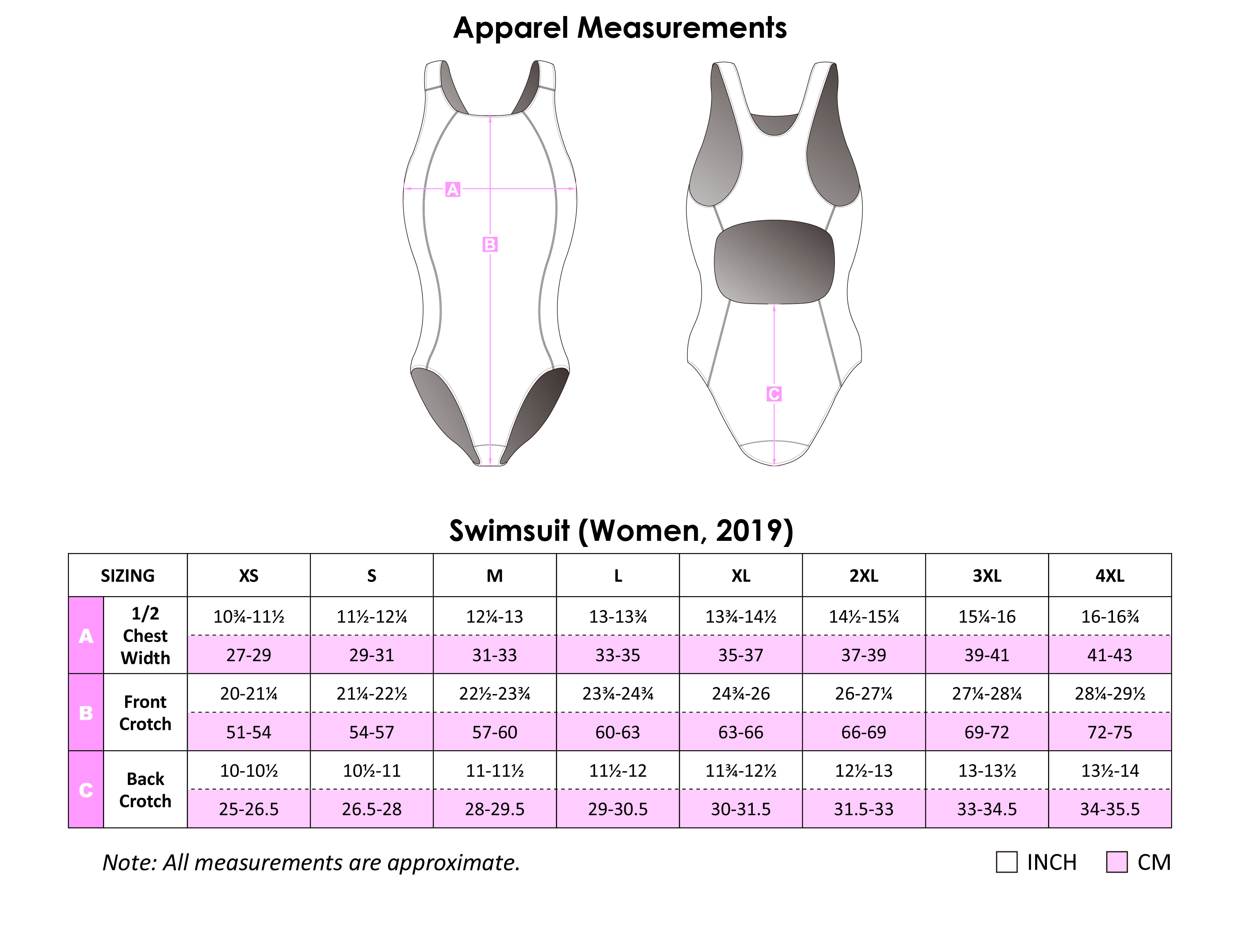 TEMPO Systems Swim Suit Size Guide