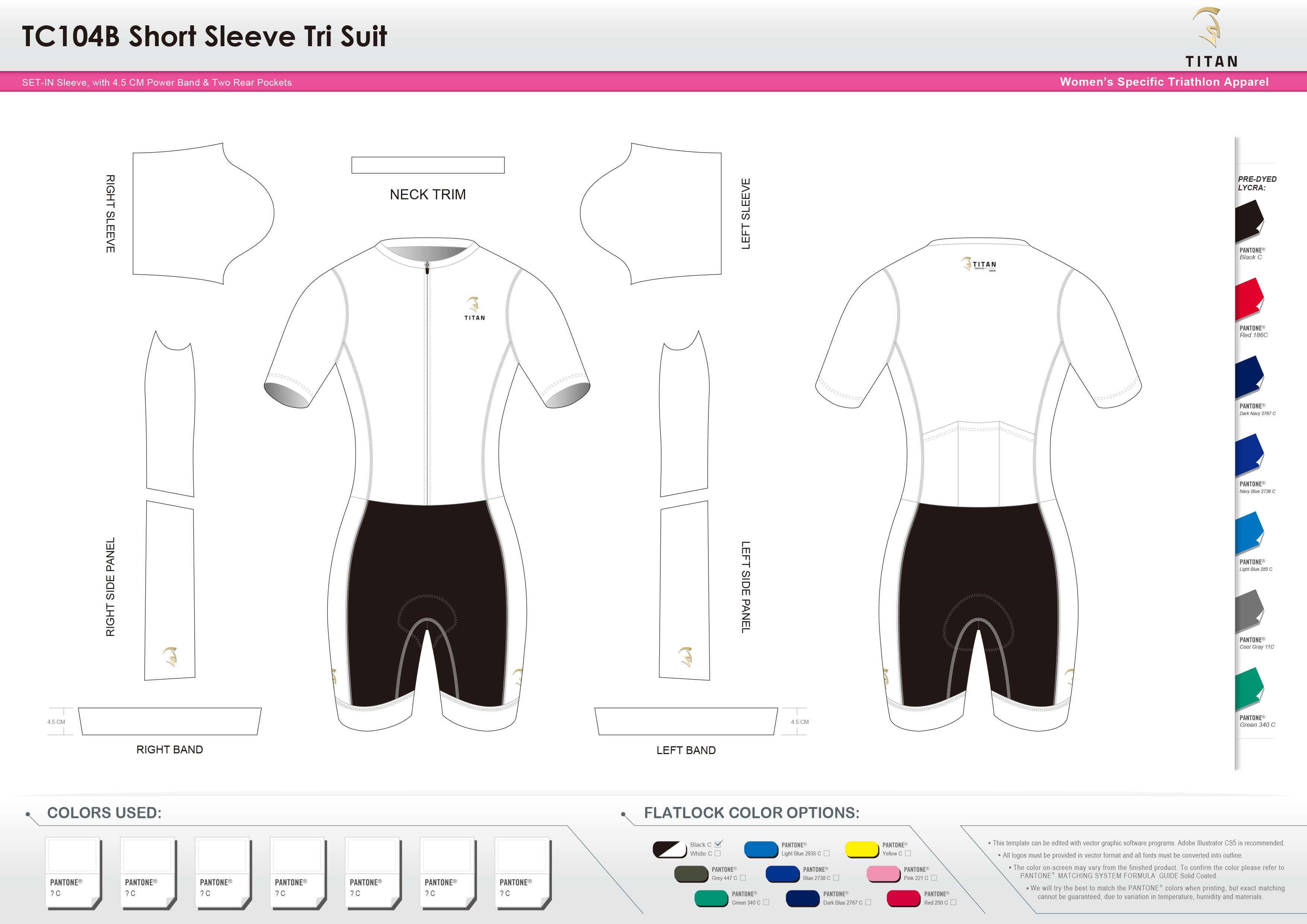 TC104B Women's Short Sleeve Tri Suit Size Chart