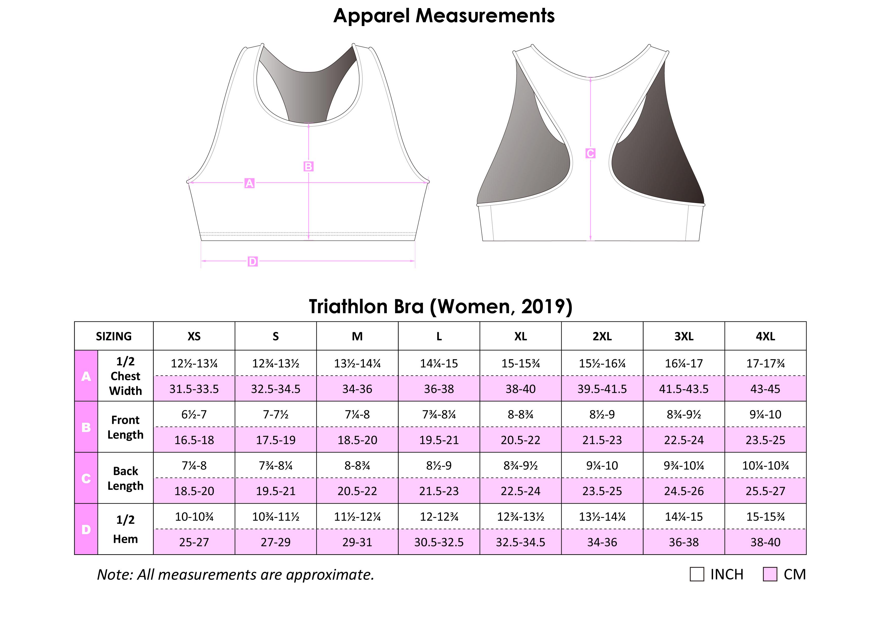 Tri Bra Apparel Size Chart
