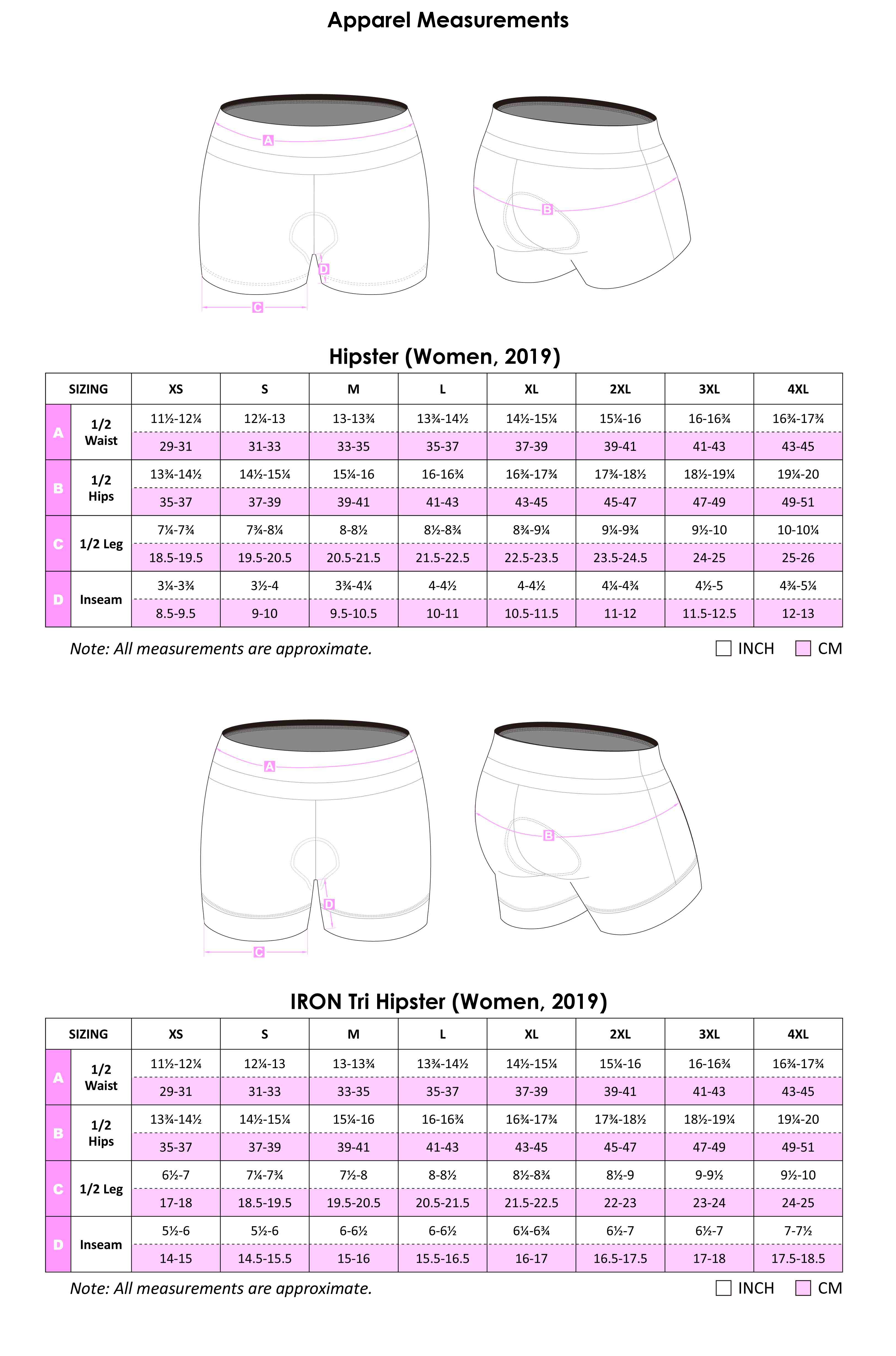 Tri Hispter Apparel Size Chart