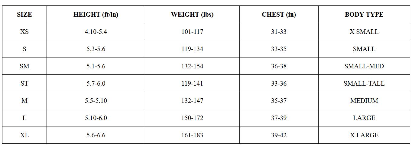 2019 Women's Aspire Wetsuit Size Guide